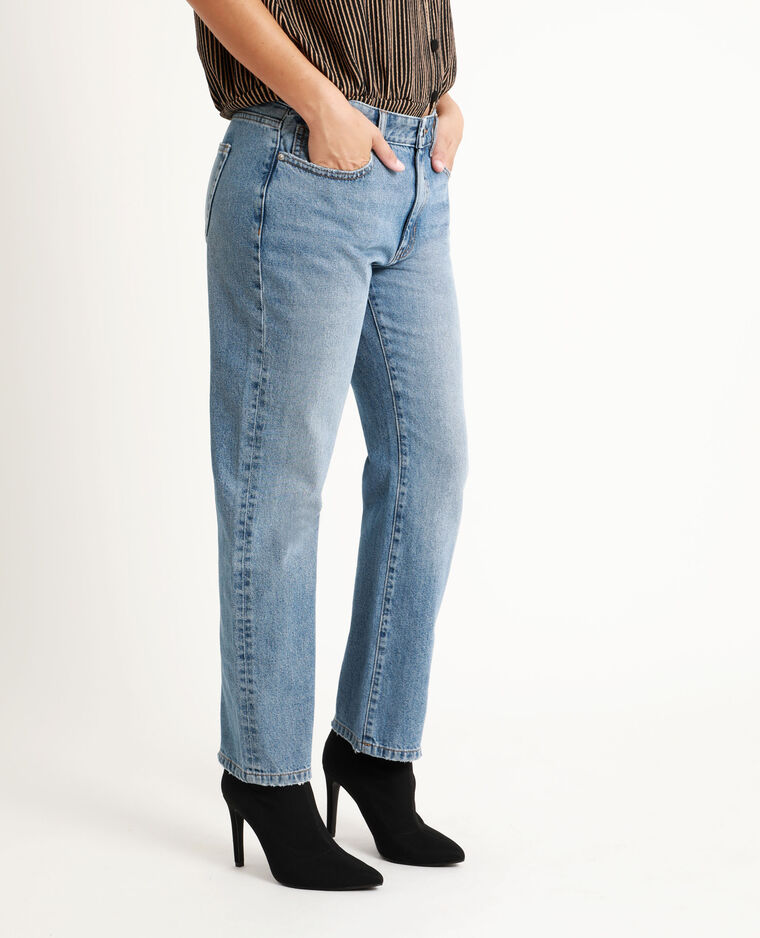 Jean straight mid waist bleu brut