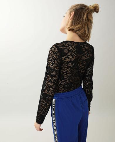 Volledig kanten shirt zwart - Pimkie