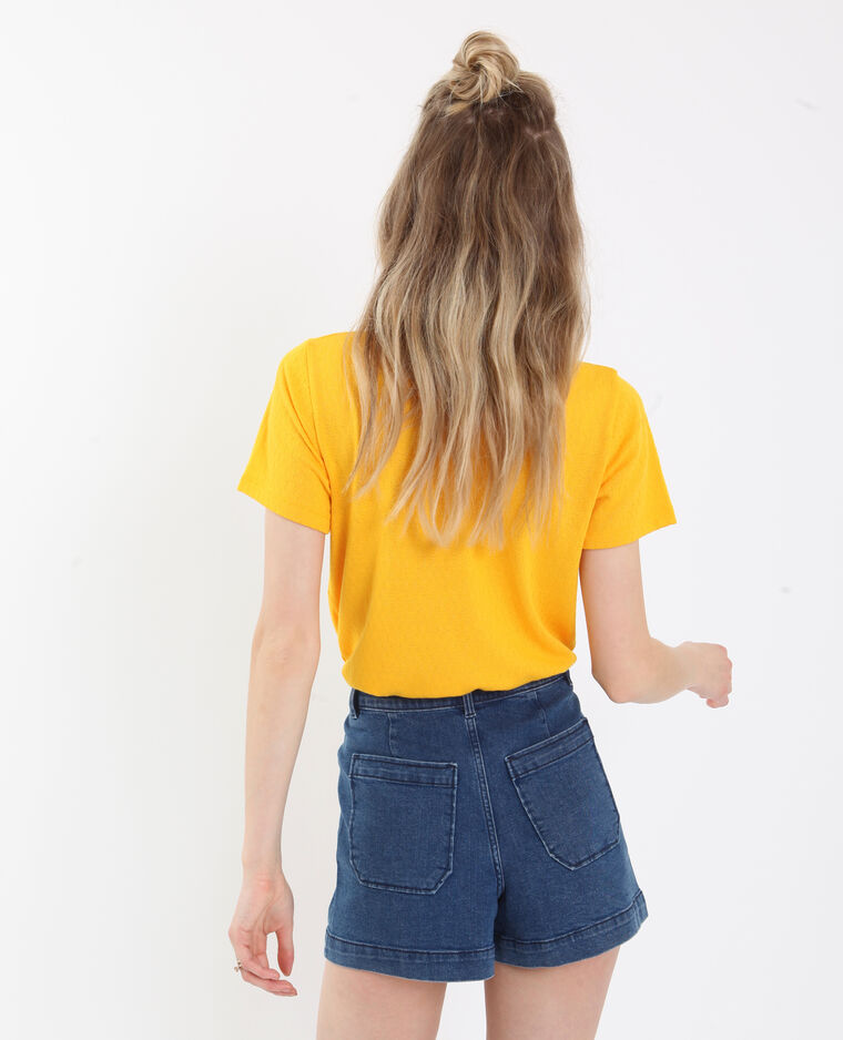 T-shirt met strik geel