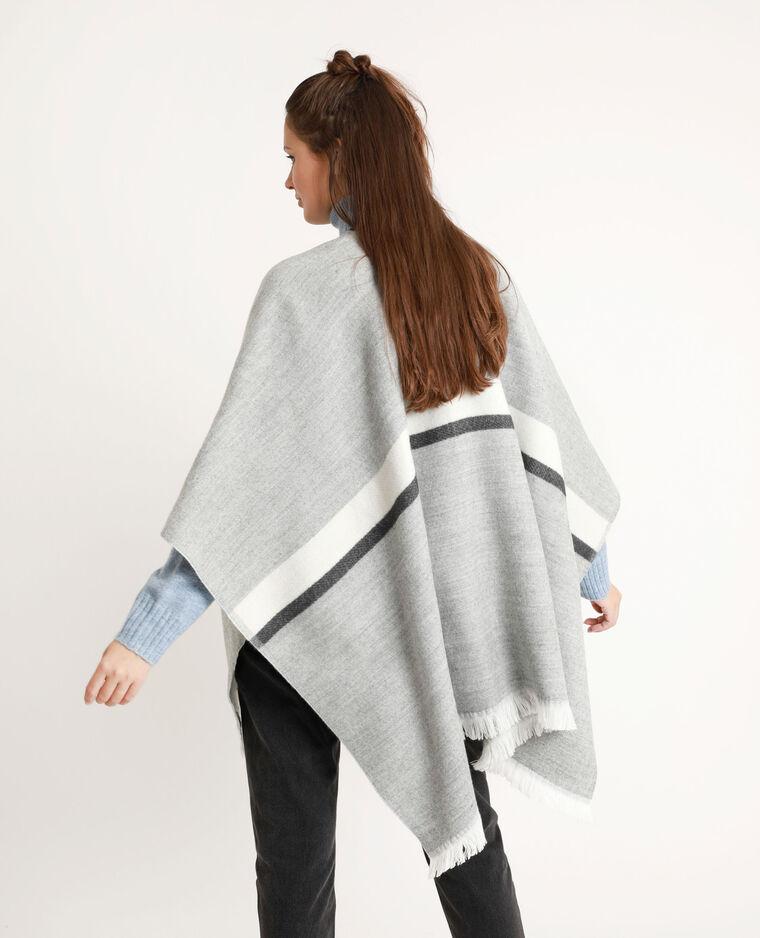 Poncho met strepen grijs