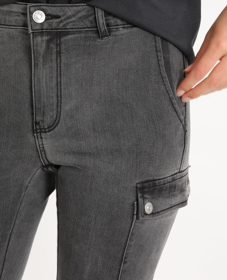 Jean slim à poches gris usé