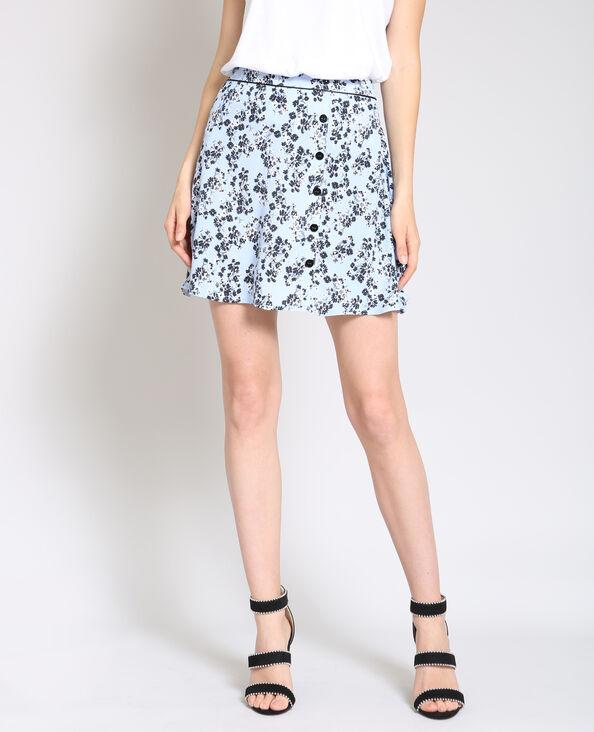 Soepelvallende rok met bloemenprint blauw