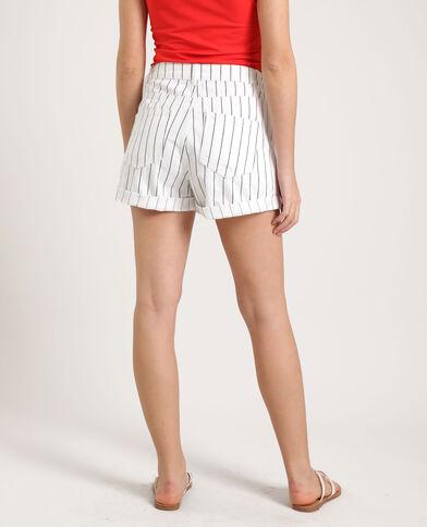 Short en jean rayé blanc