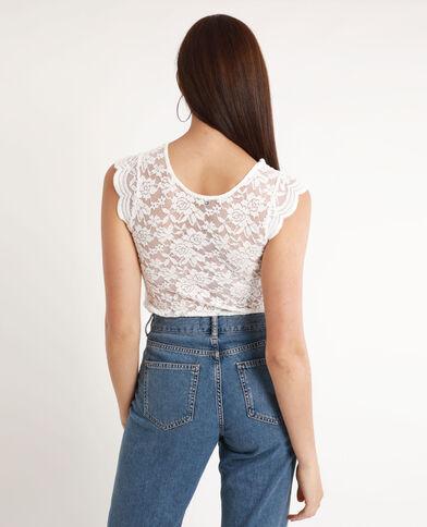 Kanten shirt gebroken wit