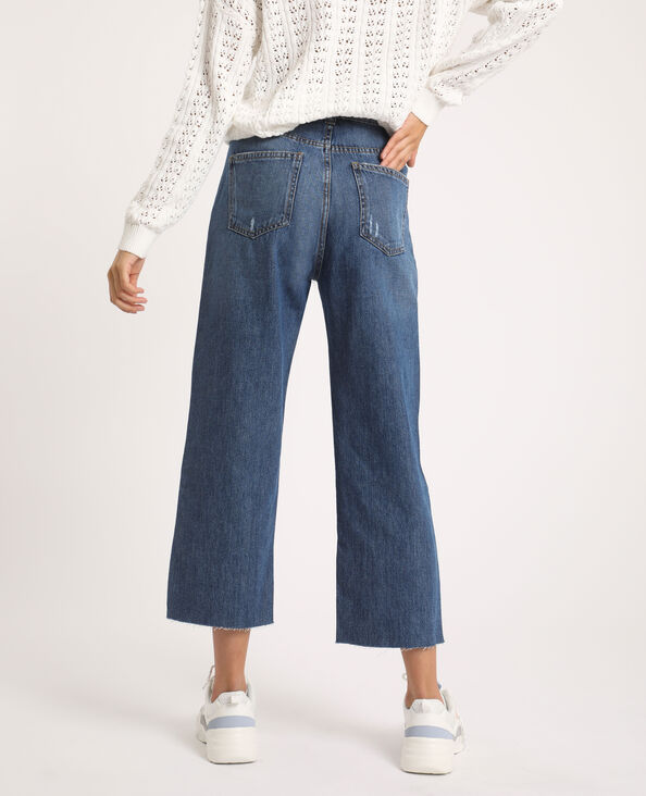 Straight-fit jeans met hoge taille denimblauw