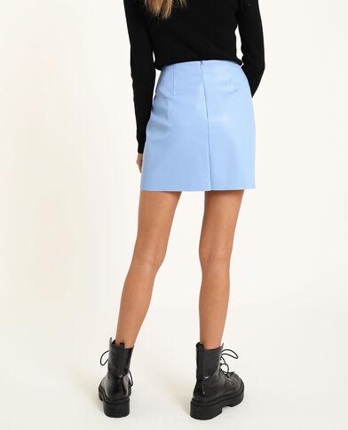 Korte rok van kunstleer zeeblauw