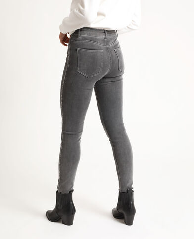 Jean skinny à strass gris chiné