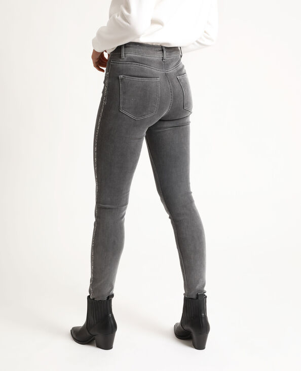 Skinny jeans met stras gemêleerd grijs