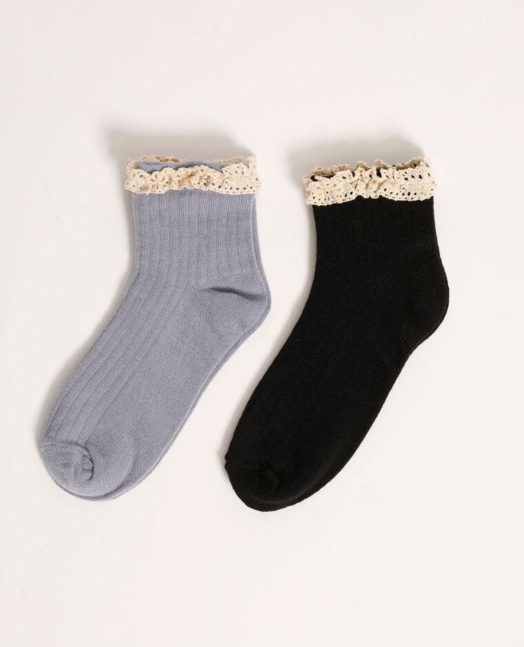Set van 2 paar sokken met gehaakt detail blauw - Pimkie