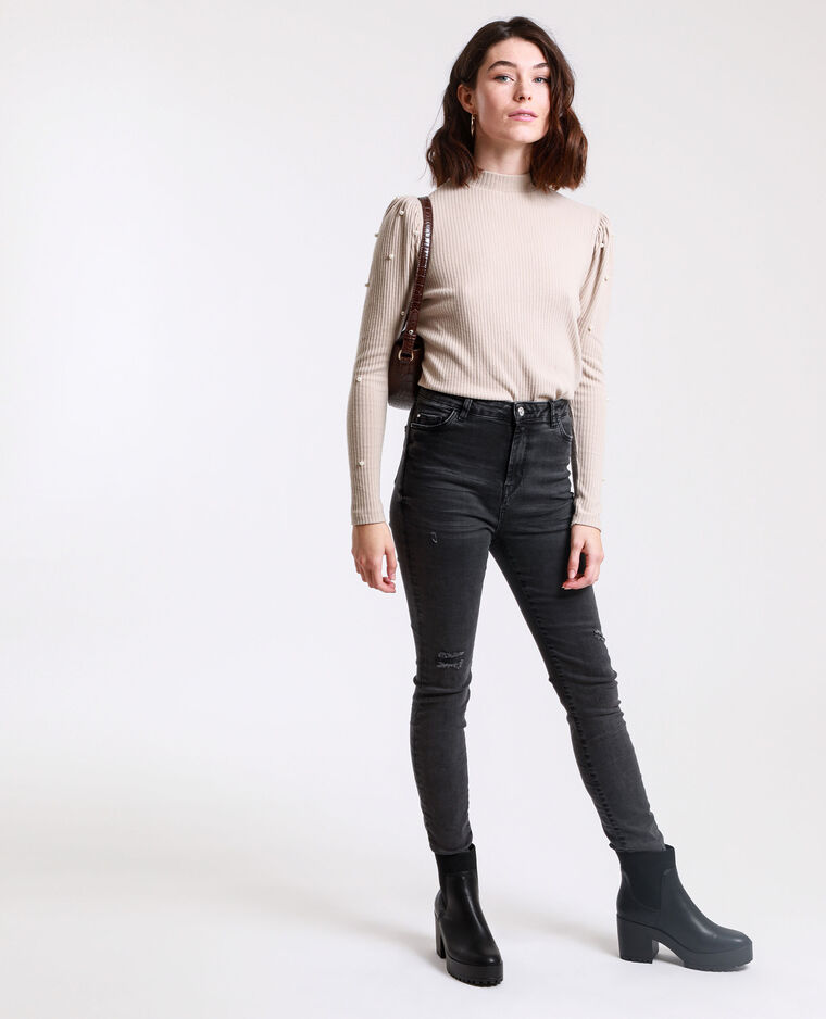 Jean skinny high waist gris usé