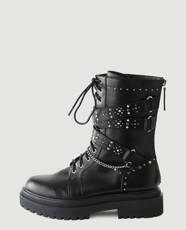 Kunstleren boots met studs zwart - Pimkie