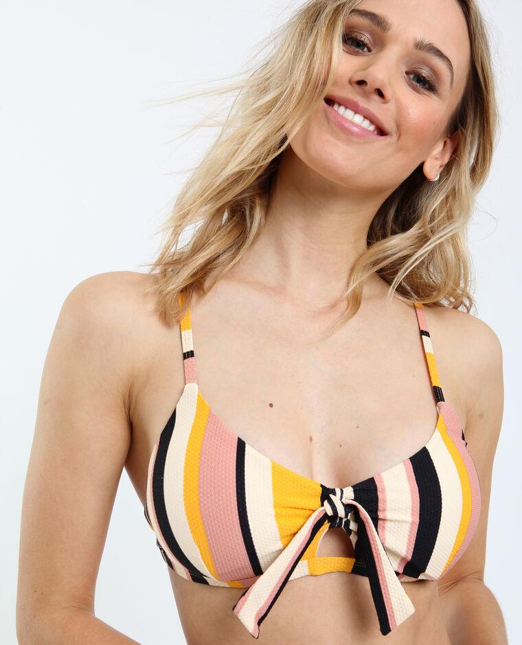 Gestreepte bikinitop geel
