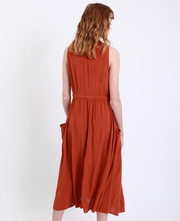 Lange jurk met zakken roestkleur
