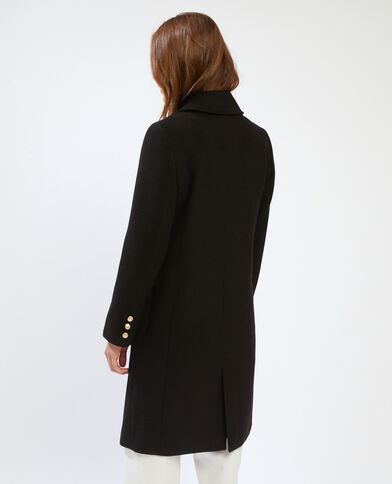 Nauwsluitende mantel van wollen stof zwart - Pimkie