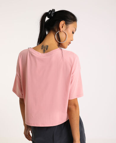 Cropped T-shirt roze