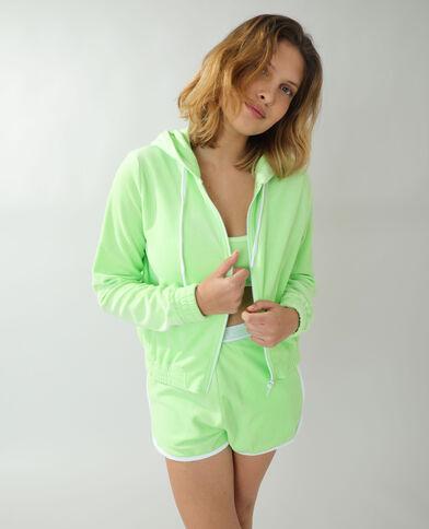 Fluwelen sweater met kap groen - Pimkie