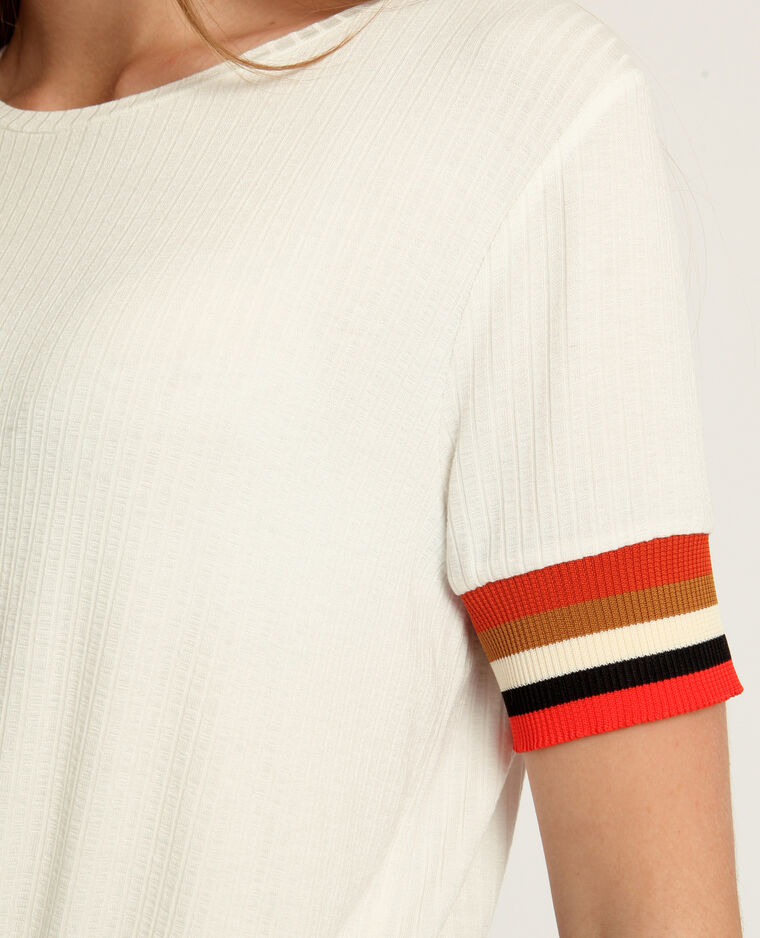T-shirt aux manches colorées blanc cassé