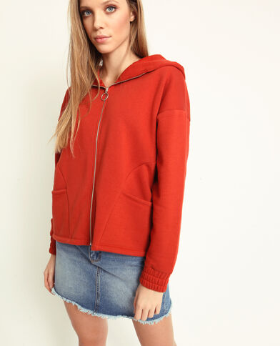 Sweater met rits roestkleur