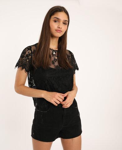 T-shirt dentelle noir