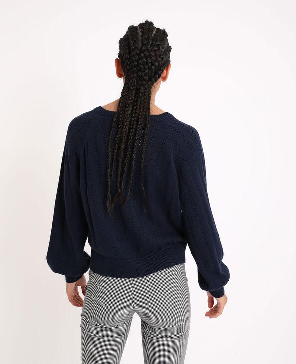 Vest van opengewerkt tricot marineblauw