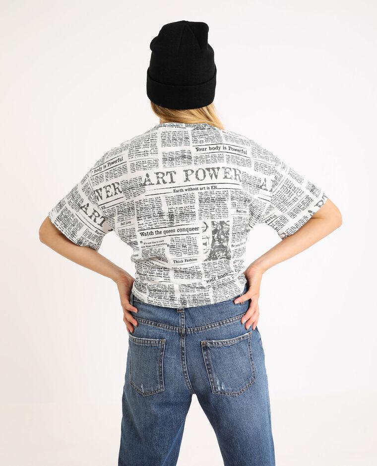 Bedrukt T-shirt ecru - Pimkie