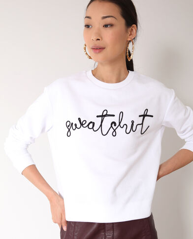Sweat brodé blanc