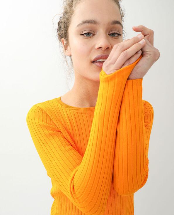 Korte trui met platte ribbels oranje - Pimkie