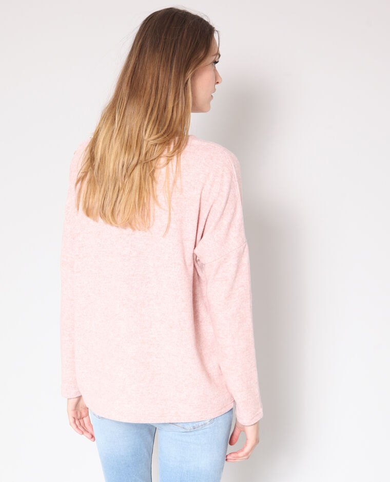 Pull à boutons rose