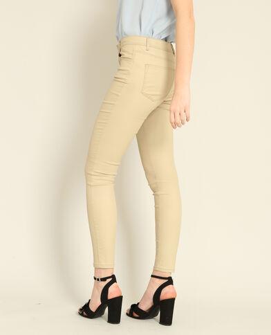 Skinny broek met coating beige