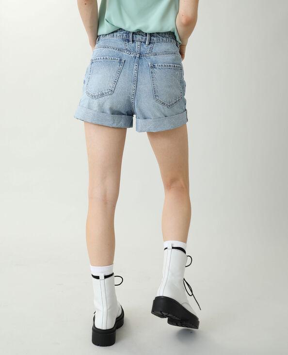 Jeansshort met hoge taille Lichtblauw - Pimkie
