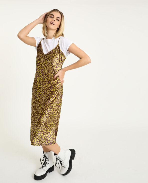 Fluwelen jurk met luipaardprint violet