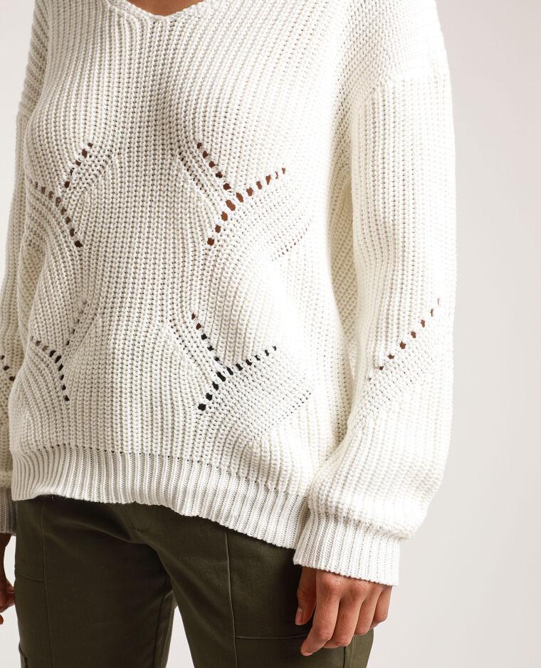 - Ruime trui met V-hals. gebroken wit
