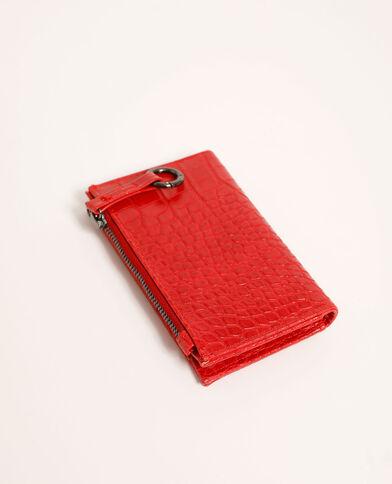 Kleine portefeuille met krokodilpatroon rood - Pimkie