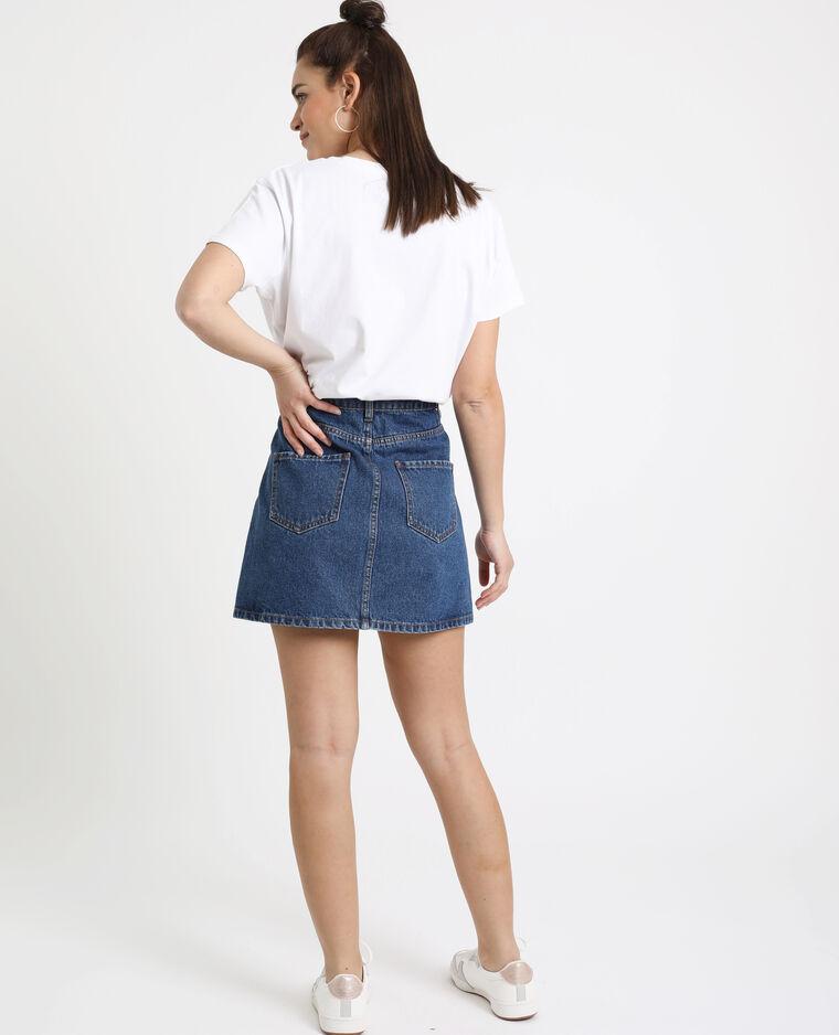 Jupe en jean zippée bleu brut