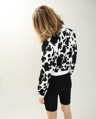 Sweater met koeienhuidmotief wit - Pimkie
