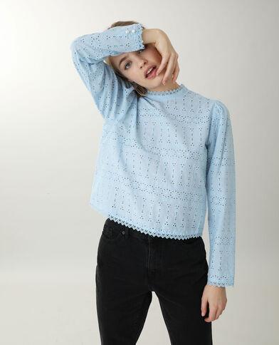 Opengewerkte blouse blauw