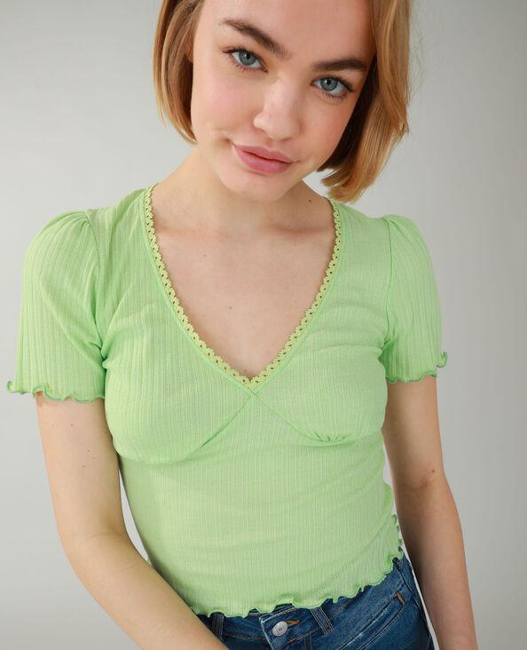 T-shirt van ribstof groen - Pimkie