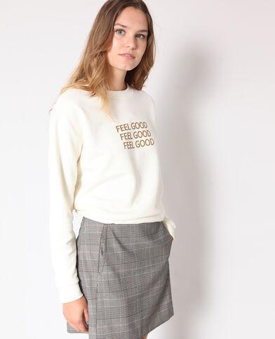 Sweater met tekst gebroken wit