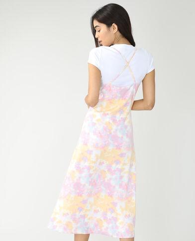 Lange tie-dye jurk met knopen wit - Pimkie