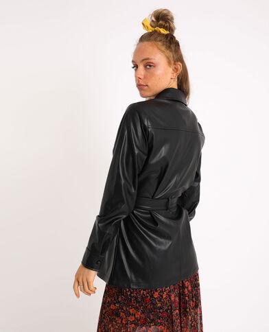 Chemise longue en simili cuir noir