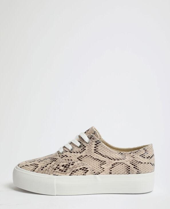 Sneakers met slangenprint geweven beige