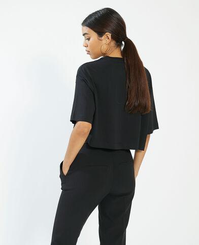 Cropped T-shirt zwart - Pimkie