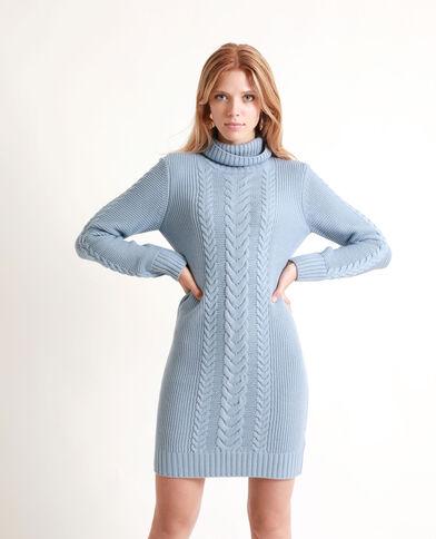 Trui-jurk met kabelmotief blauw