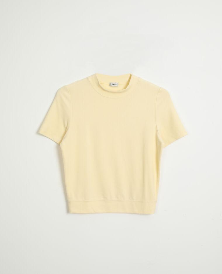 Top en maille doudou jaune