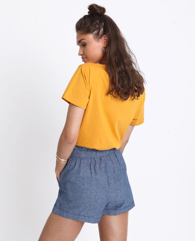 T-shirt met Frida Kahlo-print geel
