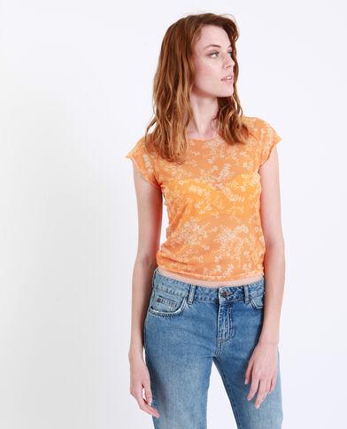 T-shirt à fleurs transparent jaune