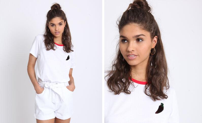 T-shirt bicolore blanc