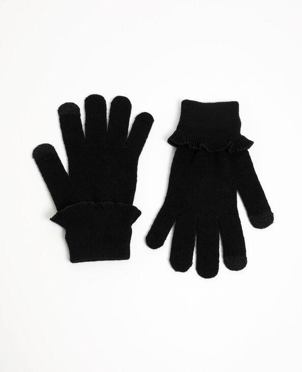 Handschoenen met ruches zwart