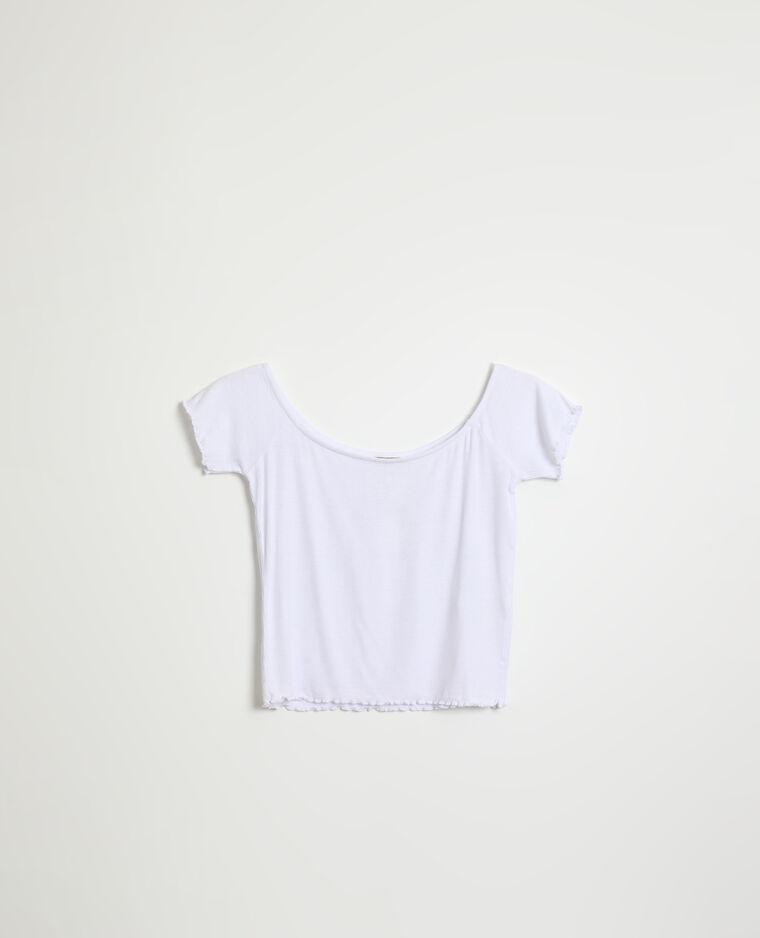 T-shirt roulotté et côtelé blanc - Pimkie