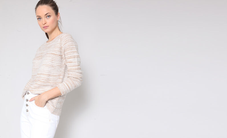 Pull chiné beige